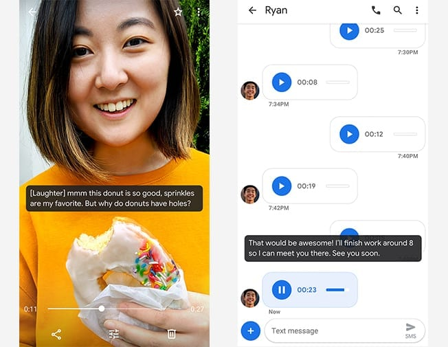 Screenshots showing Android's live captioning working on a video call and with audio voice notes.