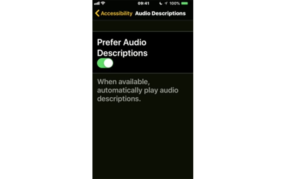 Iphone accessibility screenshot Audio descriptions function