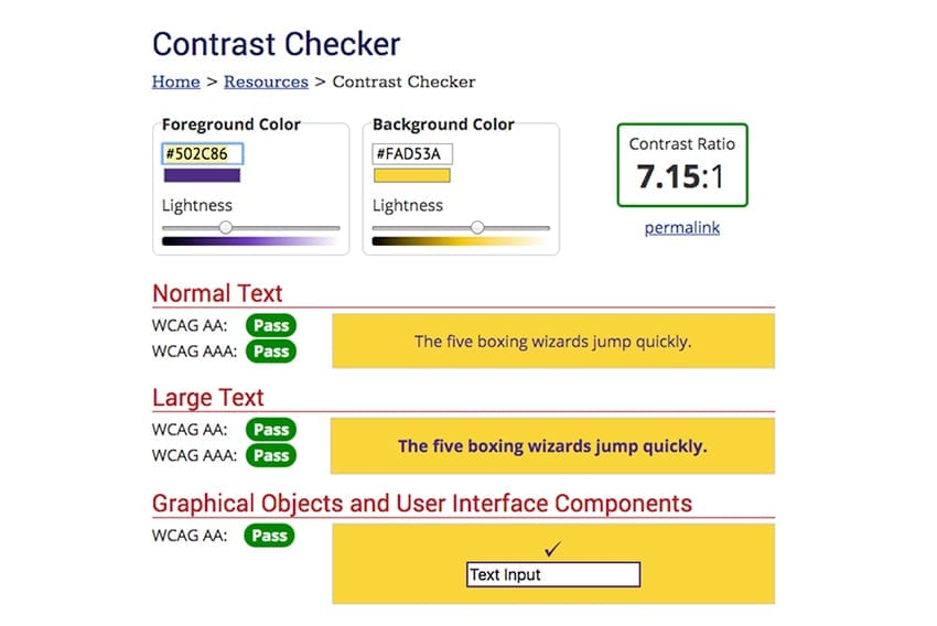 Screenshot from WebAIM's Colour Contrast Checker website with example text in yellow and purple showing a pass.