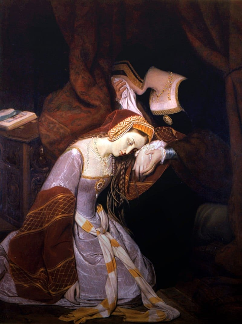 Painting of Anne Boleyn in the Tower of London, resting her head on her crying maid's lap, shortly after her arrest