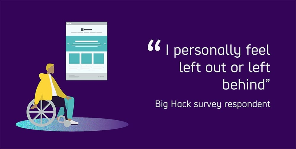 "Graphic text reads ""I personally feel left out or left behind."" Quote from a Big Hack survey respondent."