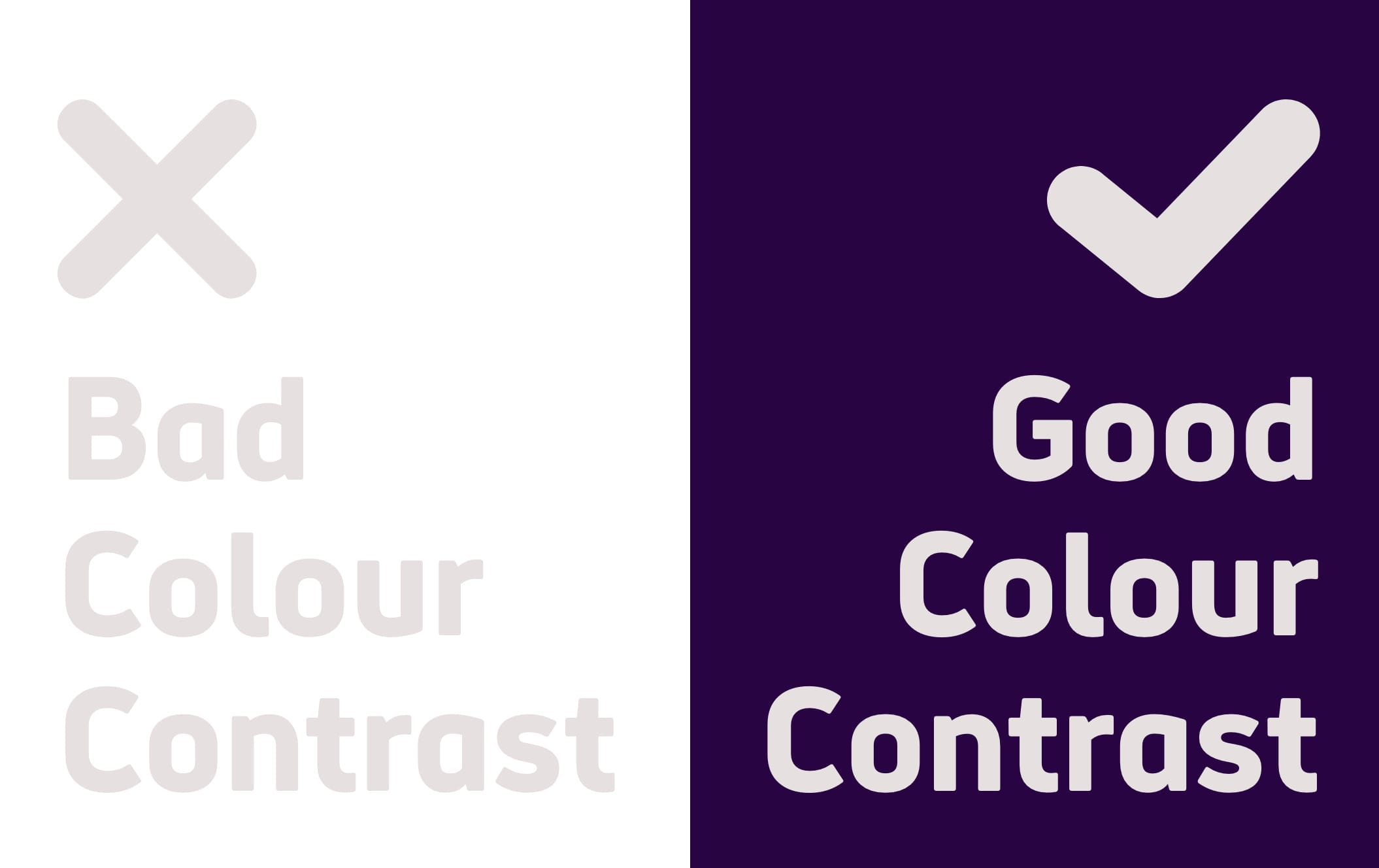 Example of good and bad colour contrast combinations for accessibility. On the left is light grey text on a white background. On the right is an example of good colour contrast with off-white text on a dark purple background.